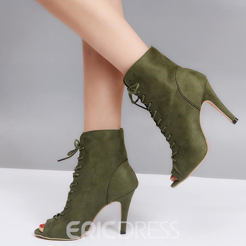 Ericdress Peep Toe Lace-Up Front Women's Ankle Boots