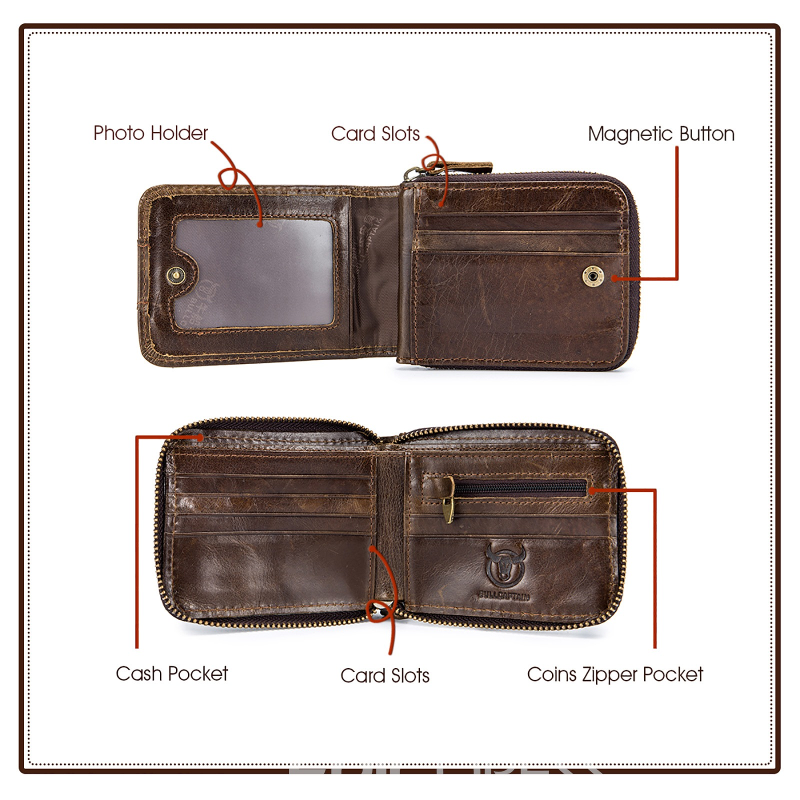 Ericdress Men Leather Organizer Wallet Wallets