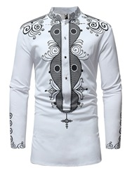 Ericdress Dashiki African Printed Color Block Mens Casual Shirts фото