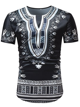 Ericdress Black Dashiki African Printed Mens Short Sleeve T Shirts