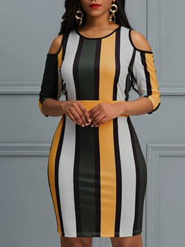 Ericdress Stripe Pullover Bodycon Women's Dress