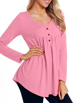 Ericdress Mid-Length Plain Pleated Long Sleeve T-shirt