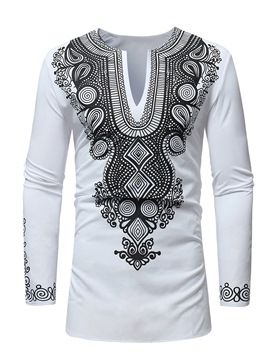 Ericdress V-Neck Dahiki African Printed Mens Slim Casual Shirts