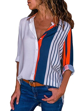 Ericdress Loose Stripe Color Block Single-Breasted Long Sleeve Blouse