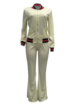 Ericdress Zippered Hoodie and Pants Plain Women's Two Piece Set