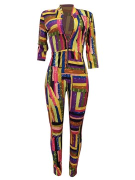 Ericdress Color Block Skinny Zippered Women's Jumpsuits