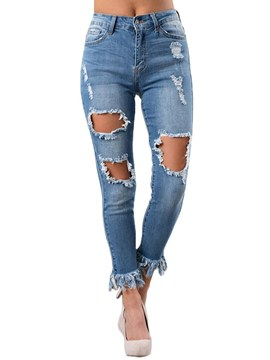 Ericdress Ripped Slim Plain Women's Jeans