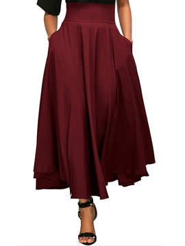 Ericdress Asymmetrical Pleated Plain Women's Skirt