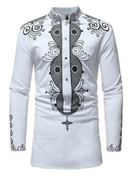 Ericdress Dashiki African Printed Color Block Mens Casual Shirts