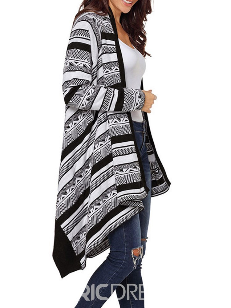 Ericdress Geometric Color Block Asymmetric Cocoon Cardigan
