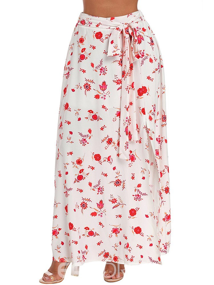 Ericdress Floral Broomstick Lace-Up Women's Skirt