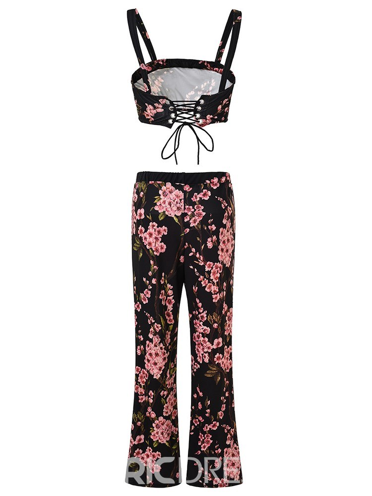 Ericdress Floral Print Vest and Pants Women's Two Piece Set