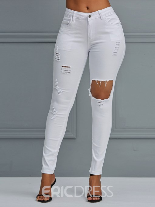 Ericdress Ripped Plain Skinny Women's Jeans