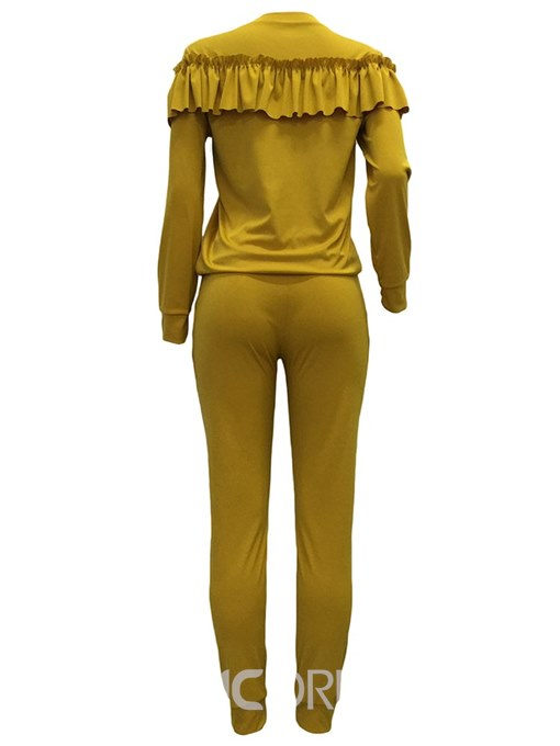 Ericdress T-Shirt and Pants Plain Long Sleeves Women's Two Piece Set