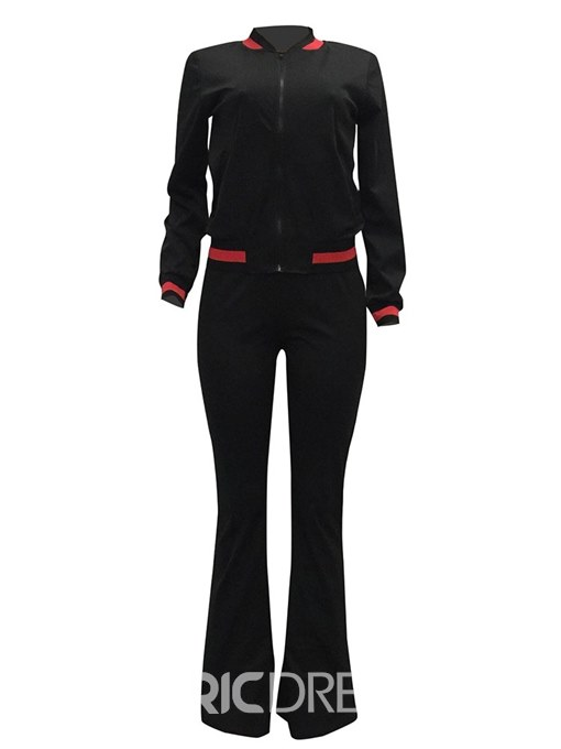 Ericdress Zippered Hoodie and Pants Long Sleeves Women's Two Piece Set