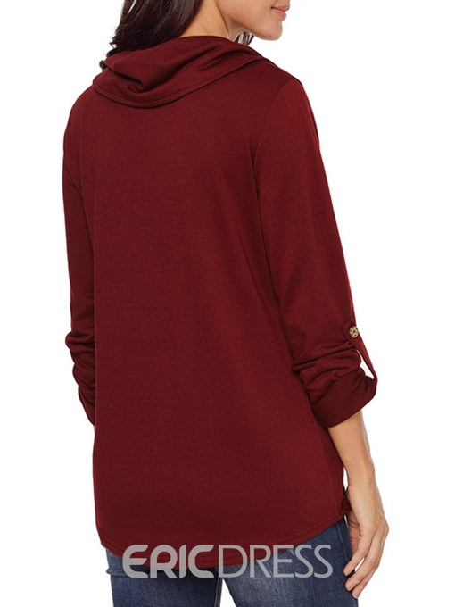 Ericdress Casual Plain Button Long Sleeves Cool Hoodie