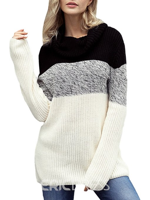 Ericdress Color Block Mid-Length Patchwork Knitwear