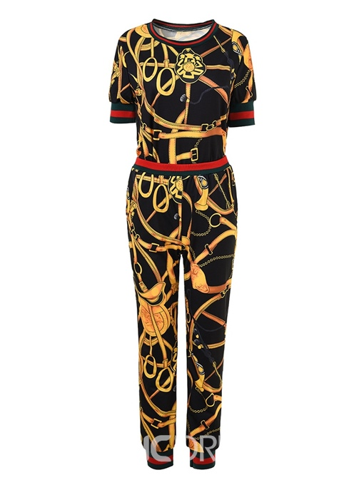 Ericdress Floral Print T-Shirt and Pants Women's Two Piece Set