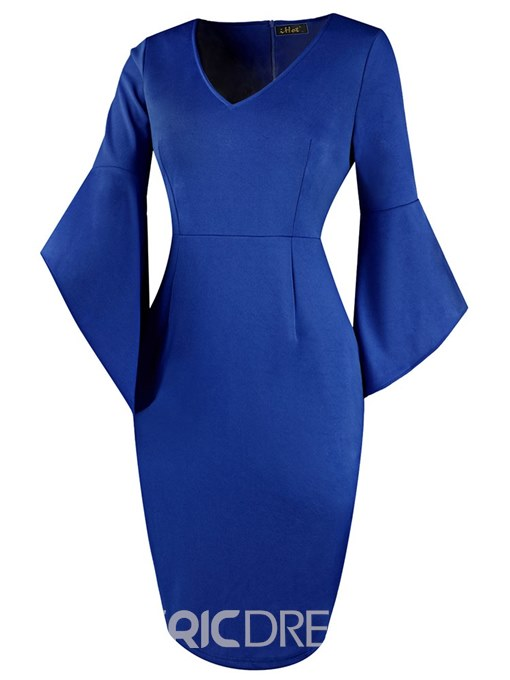Ericdress Bodycon Knee-Length V-Neck Women's Dress