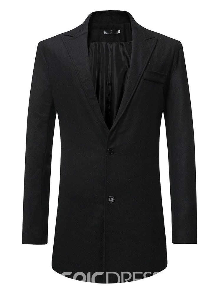 Ericdress Notched Lapel Plain Two Button Mens Mid Length Jacket Coat