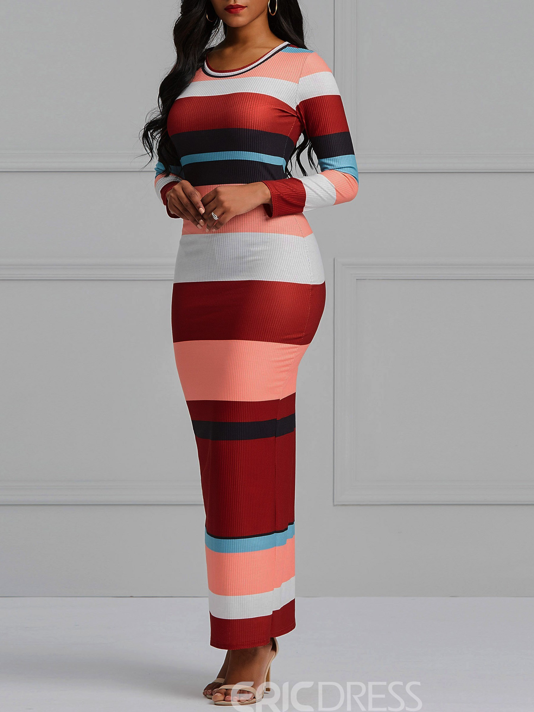 Ericdress Stripe Ankle-Length Bodycon Women's Dress