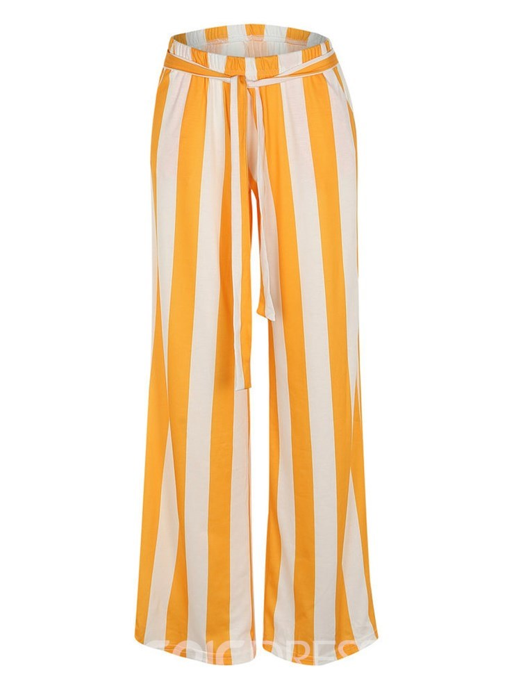 Erisdress Striped Color Block Wide Legs Women's Pants