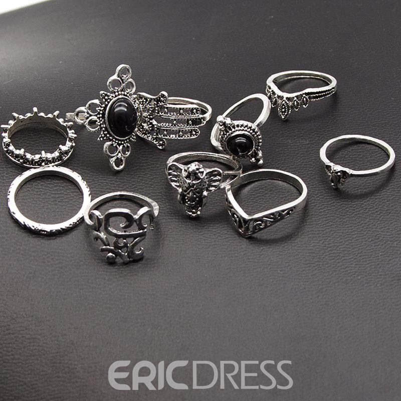 Ericdress Vintage 8 Pieces Creative Floral Miniature Gem Ring Set