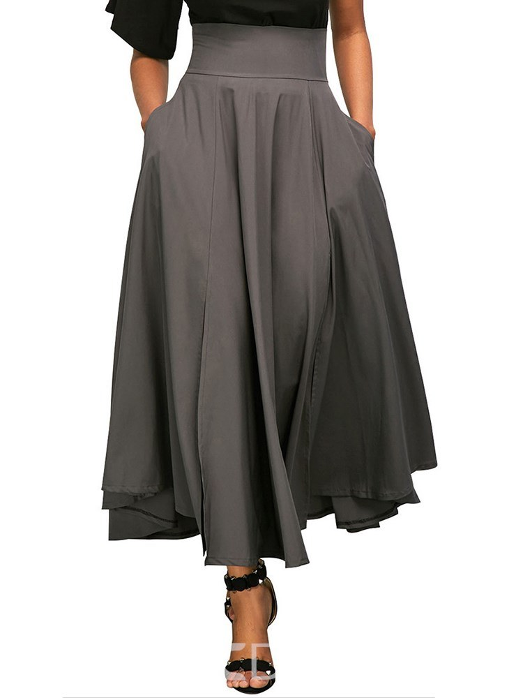 Ericdress Pleated Asymmetrical Plain Women's Skirt