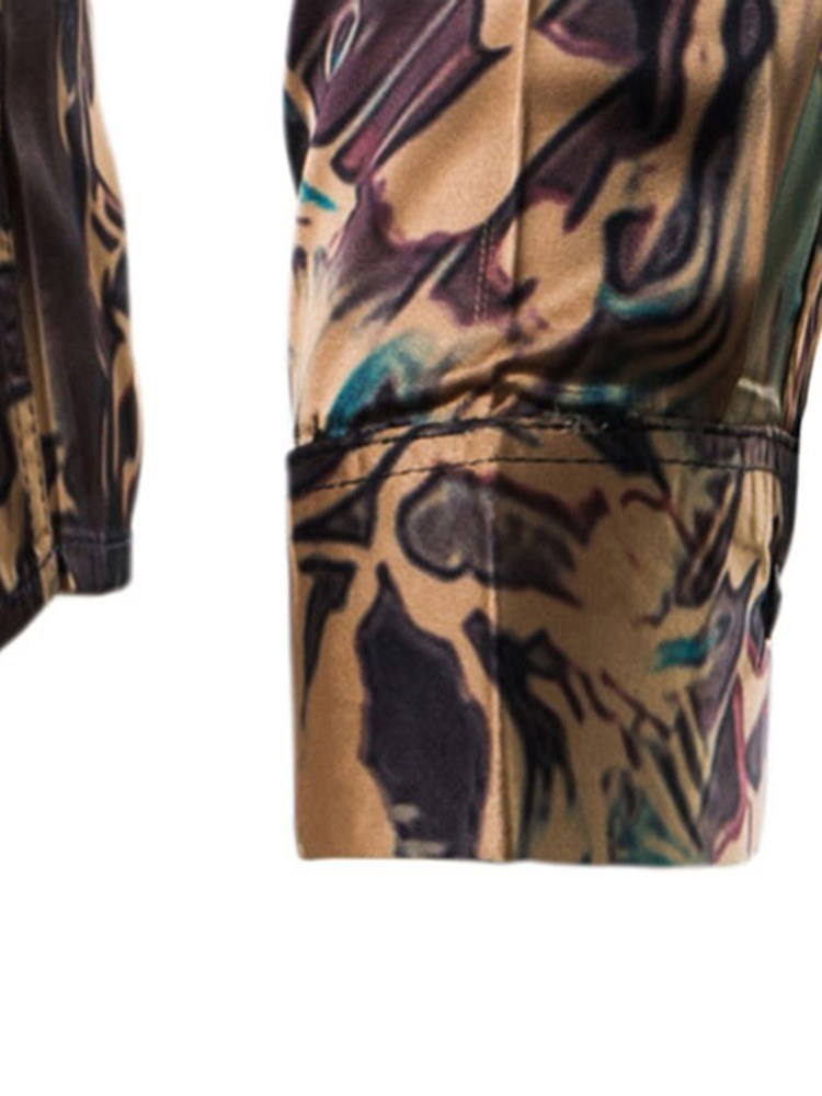 Ericdress Floral Print Slim Lapel Button Up Mens Casual Party Shirts
