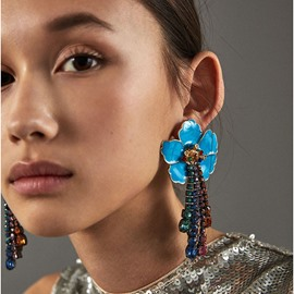Ericdress Flower Sequin Drop Earrings