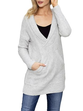 Ericdress Loose Plain Mid-Length Long Sleeves Knitwear