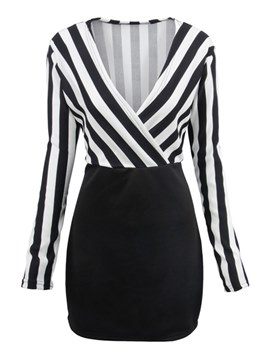 Ericdress Bodycon Office Lady Stripe Women's Dress