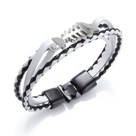 Ericdress Fishbone Silver Men's Bracelet