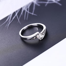 Ericdress Lover Diamante Silver Ring For Women/Men
