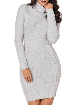 Ericdress Bodycon Knit High Neck Women's Dress