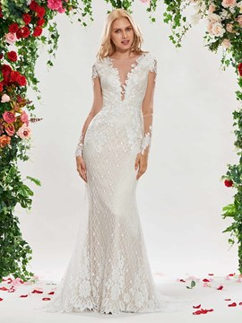 Ericdress Illusion Neckline Long Sleeves Mermaid Lace Wedding Dress