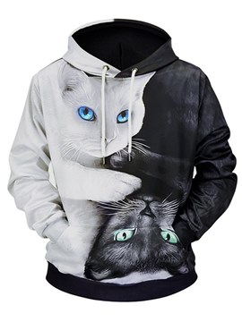 Ericdress Animal Printed Color Block Pullover Mens Casual Hoodies