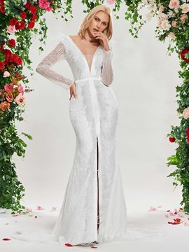 Ericdress Deep V Neck Mermaid Long Sleeve Lace Wedding Dress