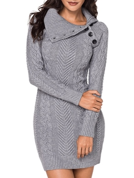 Ericdress Bodycon Knit Button Women's Dress