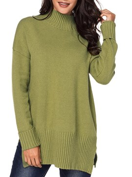 Ericdress Plain Loose High Neck Knitwear