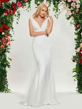 Ericdress V Neck Mermaid Lace Backless Wedding Dress