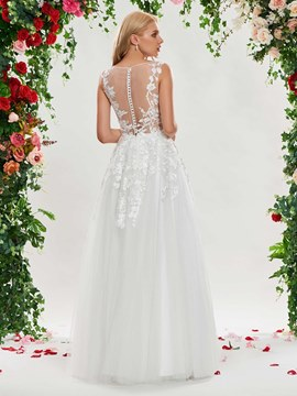 Ericdress Button Sheer Back Appliques Wedding Dress