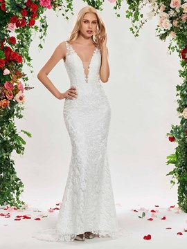 Ericdress Deep V Neck Mermaid Lace Backless Wedding Dress
