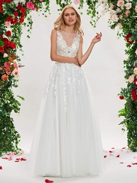 Ericdress Illusion Neckline A Line Appliques Tulle Wedding Dress