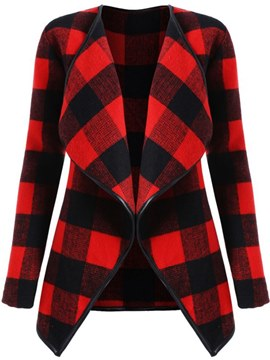 Ericdress Lapel Plaid Casual Mid-Length Coat