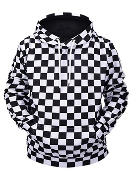 Ericdress Plaid Color Block Hooded Lace Up Pullover Mens Casual Hoodies