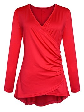 Ericdress Asymmetric Pleated Long Sleeve T-shirt
