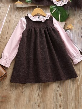 Ericdress Ruffles Pleated Patchwork Flare Sleeve Girl's Casual Dress
