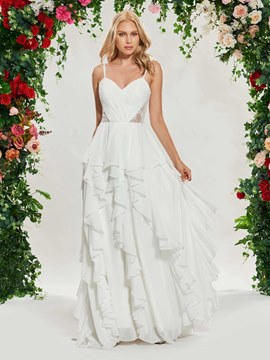 Ericdress Spaghetti Straps Ruffles Beach Wedding Dress