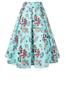 Ericdress Floral Pleated A-Line Women's Skirt